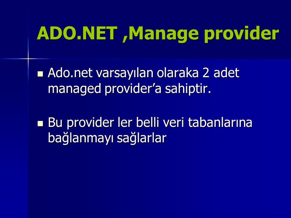 ADO.NET ,Manage provider