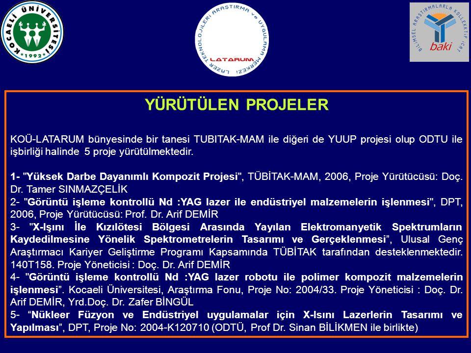 YÜRÜTÜLEN PROJELER KOÜ-LATARUM bünyesinde bir tanesi TUBITAK-MAM ile diğeri de YUUP projesi olup ODTU ile işbirliği halinde 5 proje yürütülmektedir.