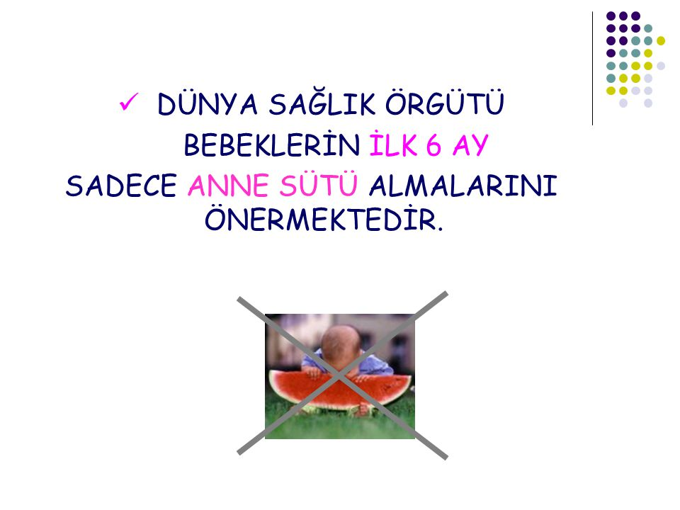 SADECE ANNE SÜTÜ ALMALARINI ÖNERMEKTEDİR.