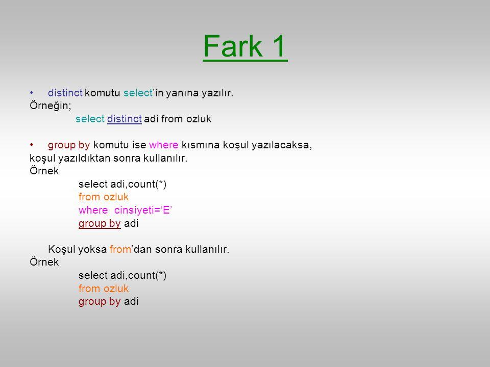 Fark 1 distinct komutu select'in yanına yazılır. Örneğin;