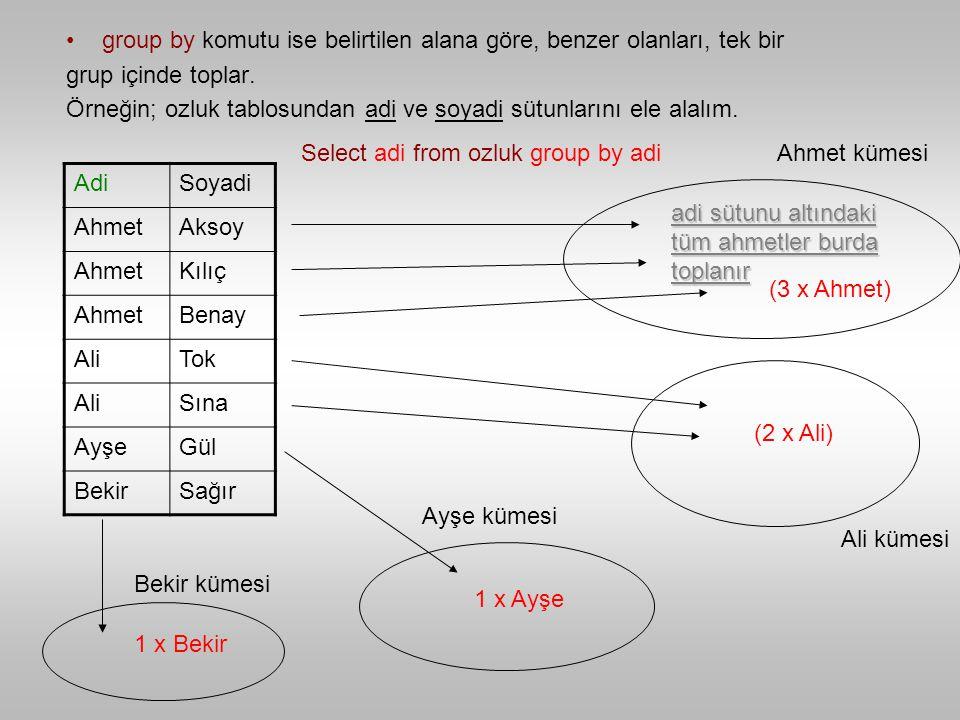 group by komutu ise belirtilen alana göre, benzer olanları, tek bir