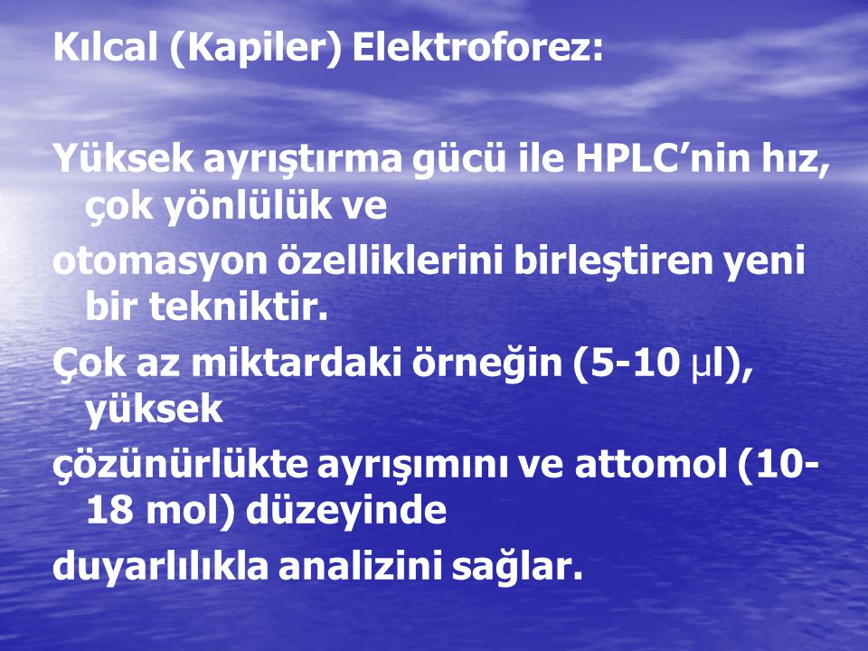 Kılcal (Kapiler) Elektroforez: