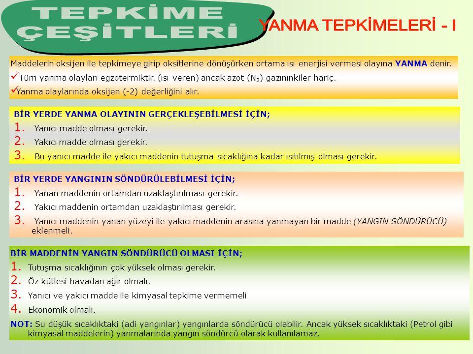 TEPKİME ÇEŞİTLERİ YANMA TEPKİMELERİ - I