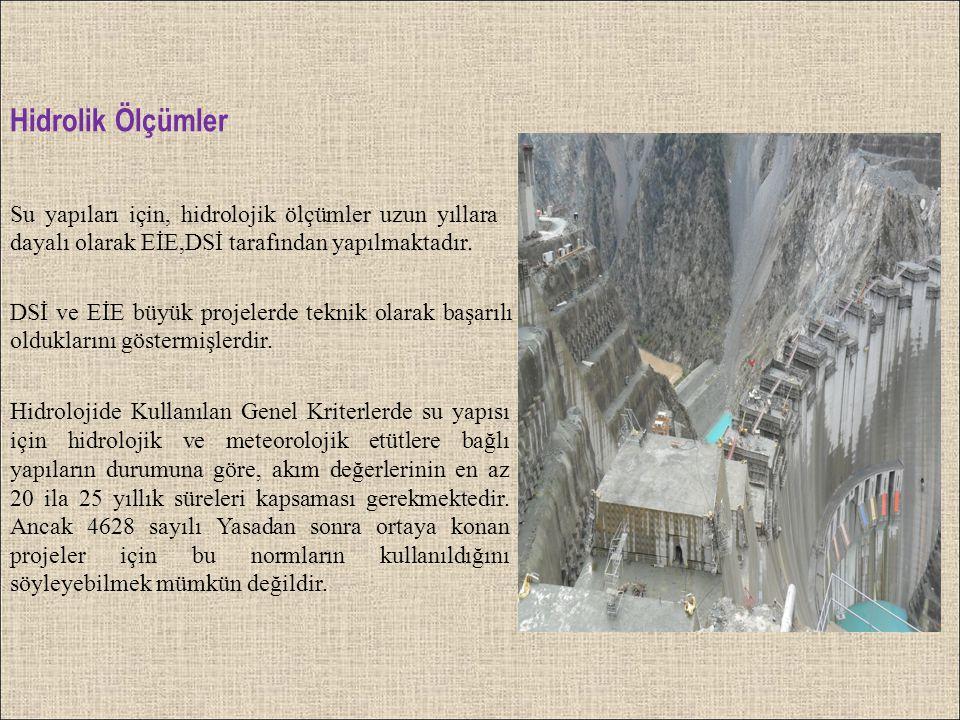Hidrolik Ölçümler Su yapıları için, hidrolojik ölçümler uzun yıllara dayalı olarak EİE,DSİ tarafından yapılmaktadır.