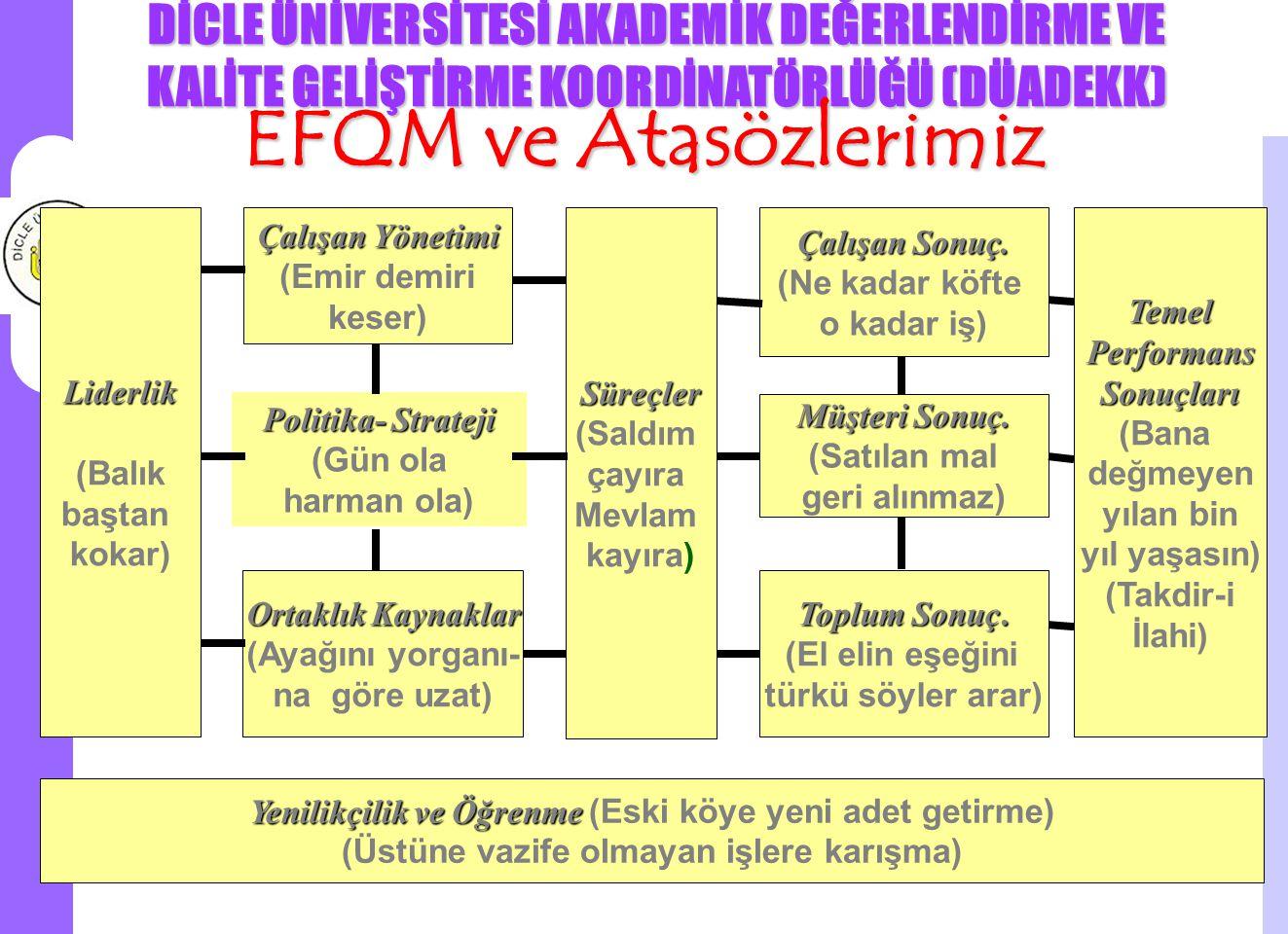 EFQM ve Atasözlerimiz Liderlik (Balık baştan kokar) Çalışan Yönetimi