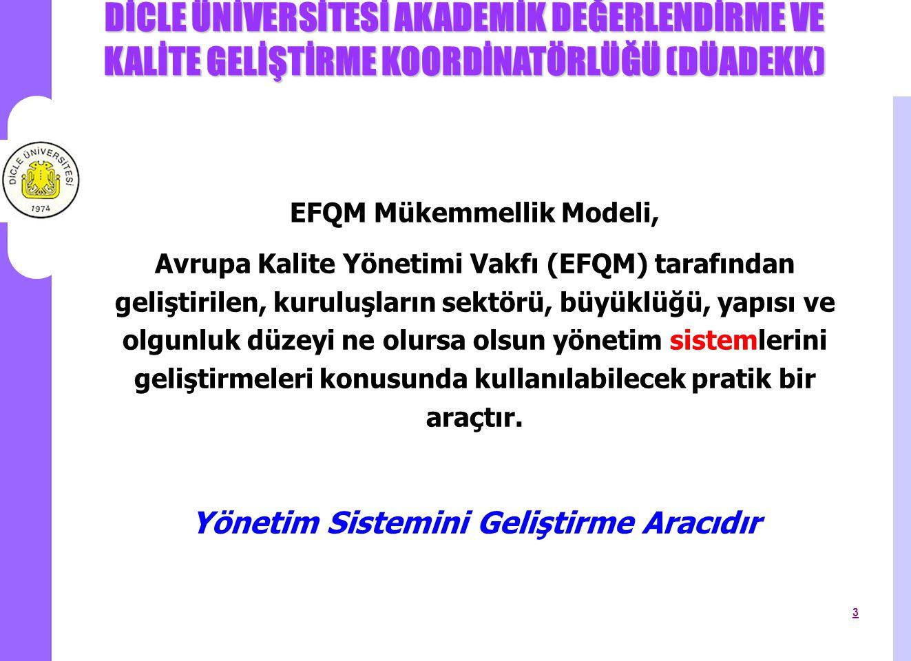 EFQM Mükemmellik Modeli, Yönetim Sistemini Geliştirme Aracıdır