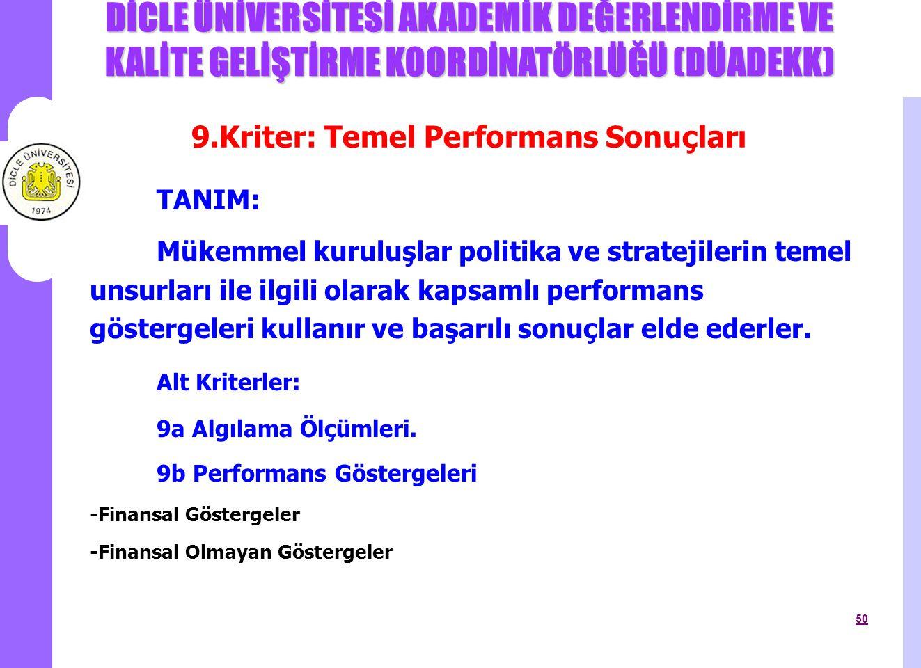 9.Kriter: Temel Performans Sonuçları