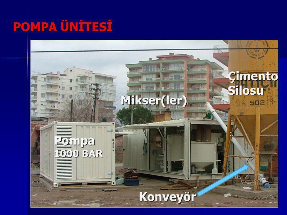 POMPA ÜNİTESİ Çimento Silosu Mikser(ler) Pompa 1000 BAR Konveyör