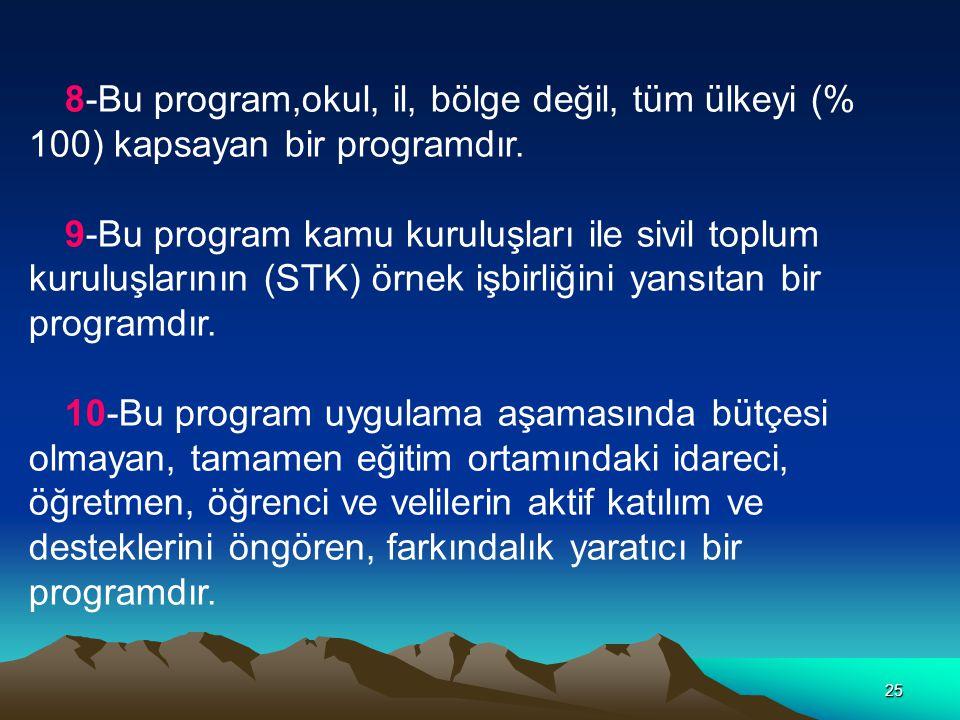 8-Bu program,okul, il, bölge değil, tüm ülkeyi (% 100) kapsayan bir programdır.