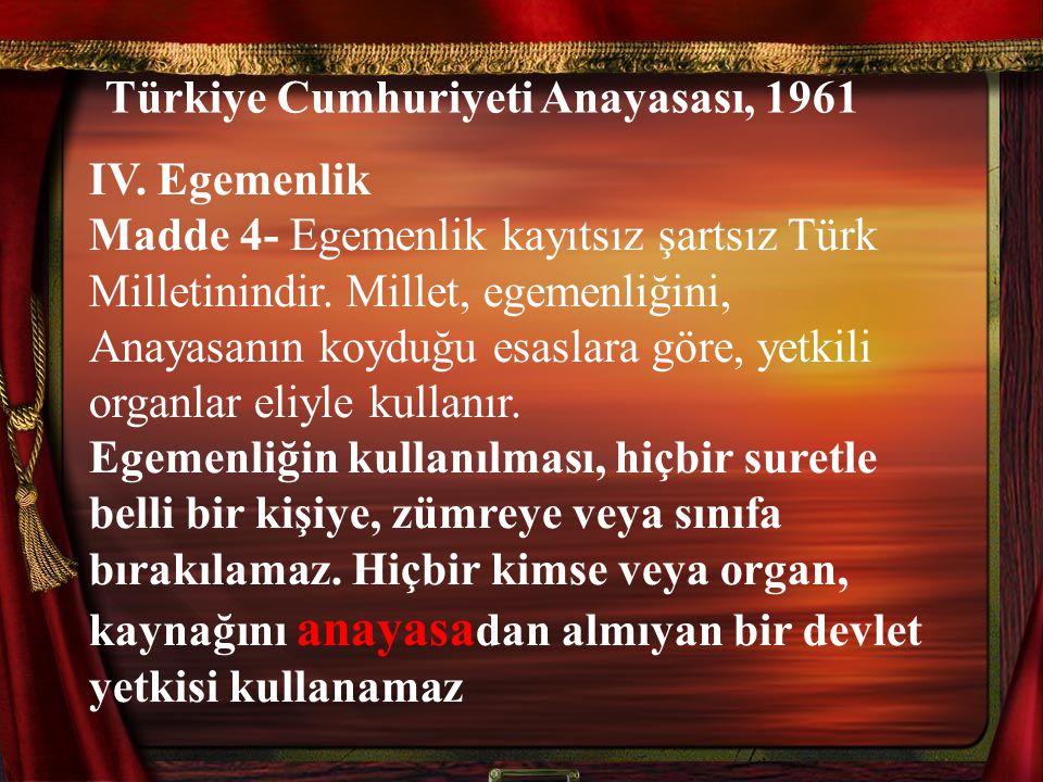 Türkiye Cumhuriyeti Anayasası, 1961