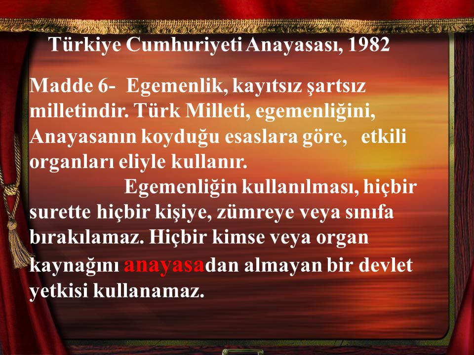 Türkiye Cumhuriyeti Anayasası, 1982