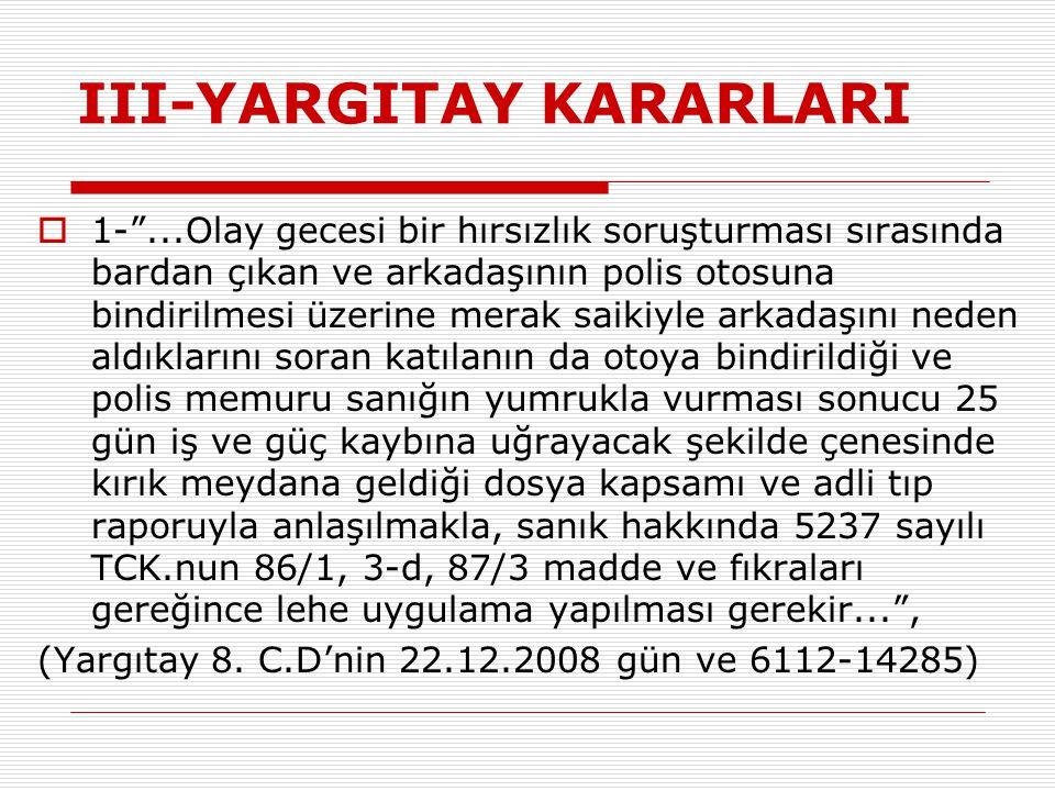 III-YARGITAY KARARLARI