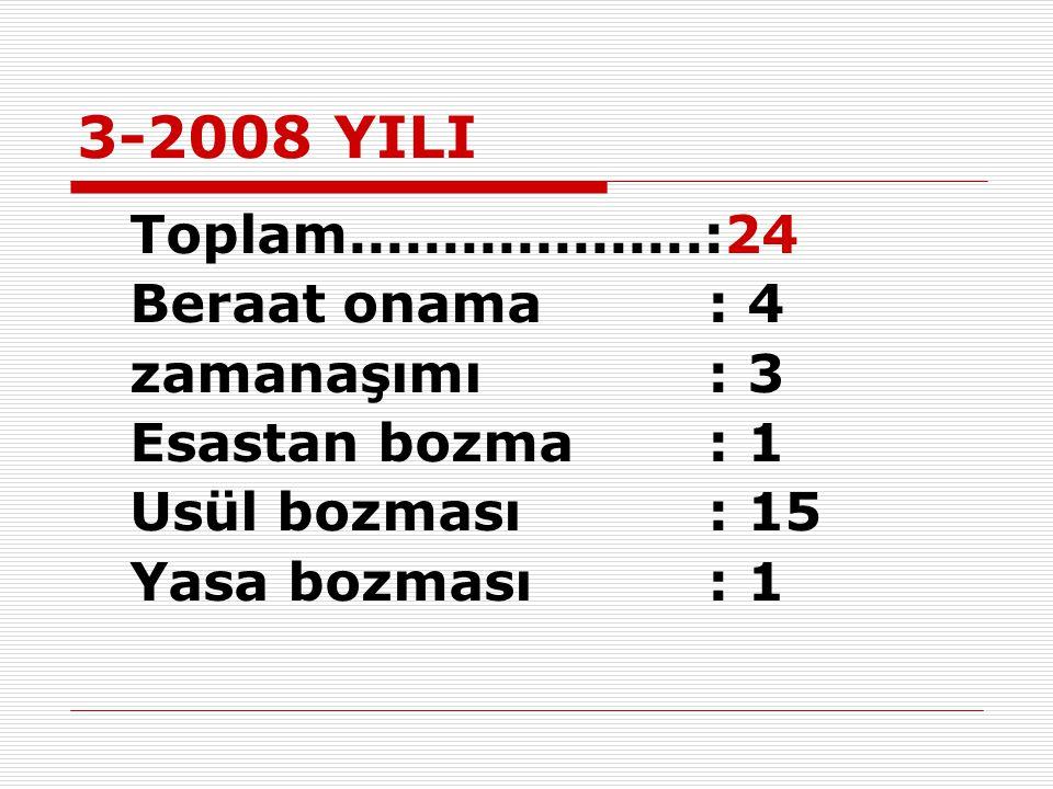 3-2008 YILI Beraat onama : 4 zamanaşımı : 3 Esastan bozma : 1
