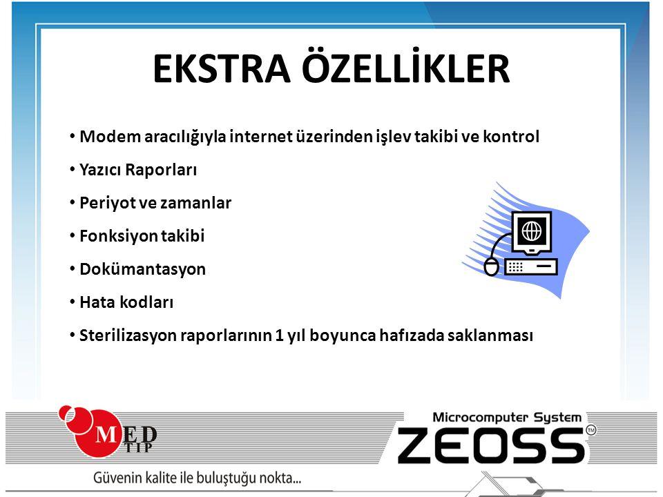 EKSTRA ÖZELLİKLER Modem aracılığıyla internet üzerinden işlev takibi ve kontrol. Yazıcı Raporları.