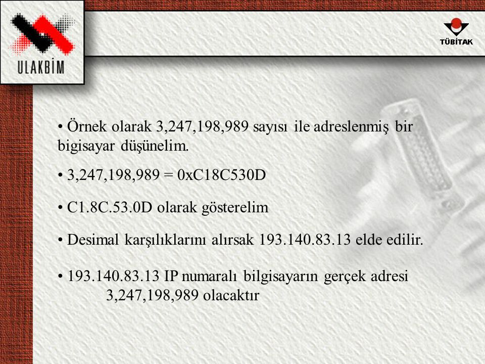 Örnek olarak 3,247,198,989 sayısı ile adreslenmiş bir bigisayar düşünelim.