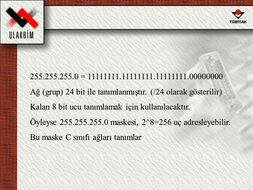 255.255.255.0 = 11111111.11111111.11111111.00000000 Ağ (grup) 24 bit ile tanımlanmıştır. (/24 olarak gösterilir)