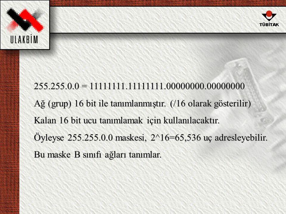 255.255.0.0 = 11111111.11111111.00000000.00000000 Ağ (grup) 16 bit ile tanımlanmıştır. (/16 olarak gösterilir)