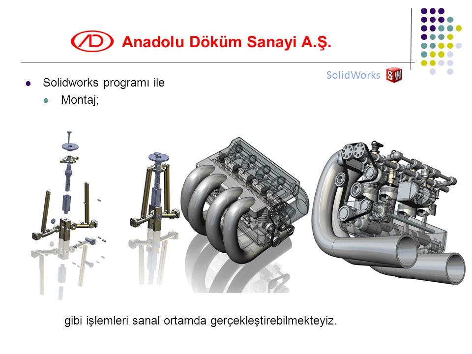 SolidWorks Solidworks programı ile Montaj; gibi işlemleri sanal ortamda gerçekleştirebilmekteyiz.