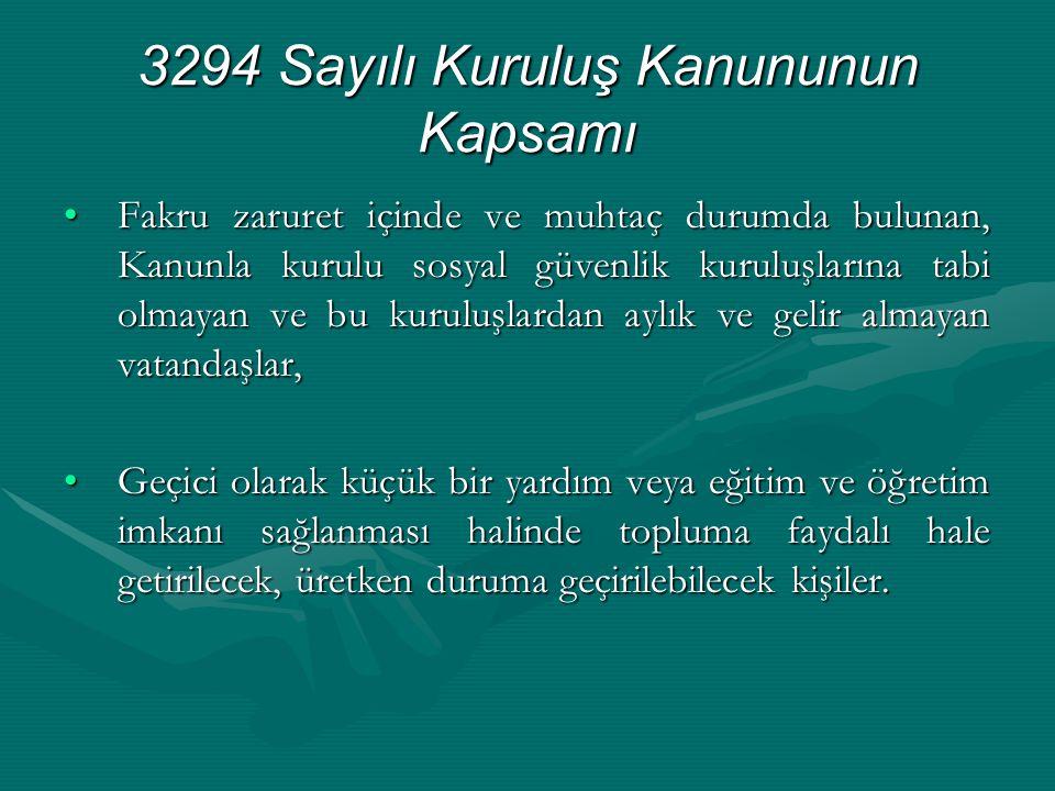 3294 Sayılı Kuruluş Kanununun Kapsamı