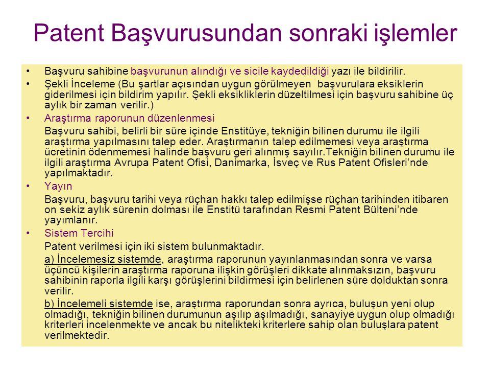 Patent Başvurusundan sonraki işlemler