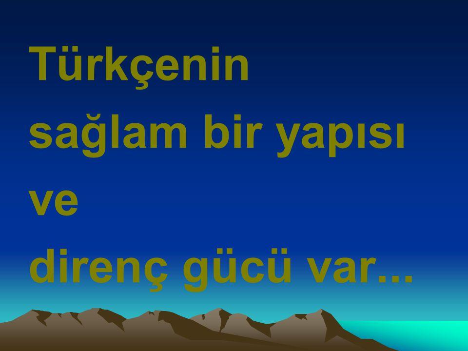 Türkçenin sağlam bir yapısı ve direnç gücü var...