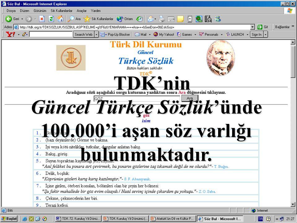 TDK'nin Güncel Türkçe Sözlük'ünde 100