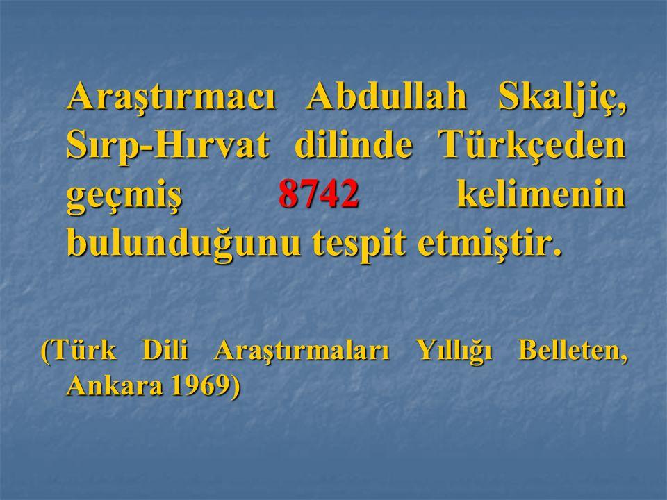 Araştırmacı Abdullah Skaljiç, Sırp-Hırvat dilinde Türkçeden geçmiş 8742 kelimenin bulunduğunu tespit etmiştir.