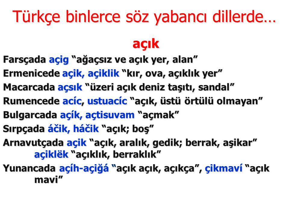 Türkçe binlerce söz yabancı dillerde…