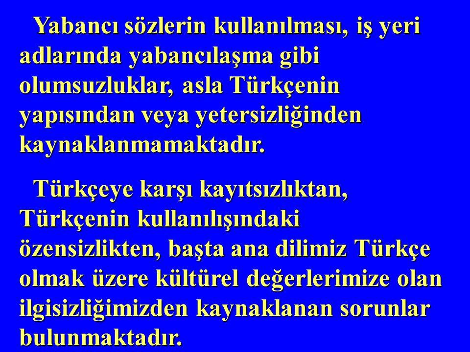 Yabancı sözlerin kullanılması, iş yeri adlarında yabancılaşma gibi olumsuzluklar, asla Türkçenin yapısından veya yetersizliğinden kaynaklanmamaktadır.