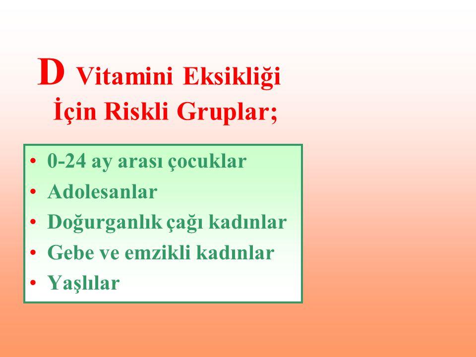 D Vitamini Eksikliği İçin Riskli Gruplar;