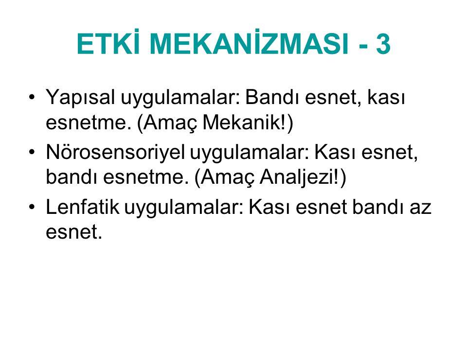 ETKİ MEKANİZMASI - 3 Yapısal uygulamalar: Bandı esnet, kası esnetme. (Amaç Mekanik!)