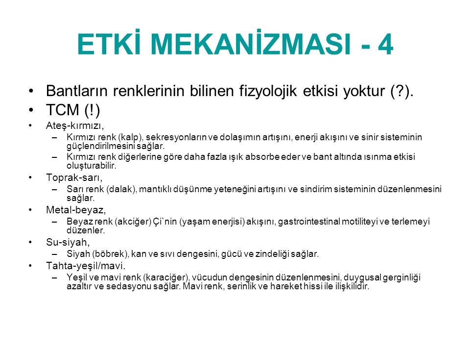 ETKİ MEKANİZMASI - 4 Bantların renklerinin bilinen fizyolojik etkisi yoktur ( ). TCM (!) © www.drsedatyildiz.com.