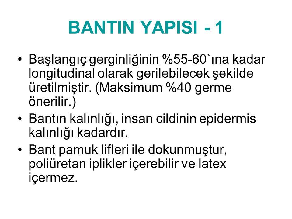 BANTIN YAPISI - 1 Başlangıç gerginliğinin %55-60`ına kadar longitudinal olarak gerilebilecek şekilde üretilmiştir. (Maksimum %40 germe önerilir.)