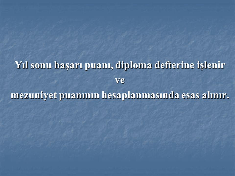 Yıl sonu başarı puanı, diploma defterine işlenir ve
