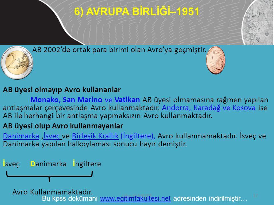 6) AVRUPA BİRLİĞİ–1951 AB 2002'de ortak para birimi olan Avro'ya geçmiştir. AB üyesi olmayıp Avro kullananlar.