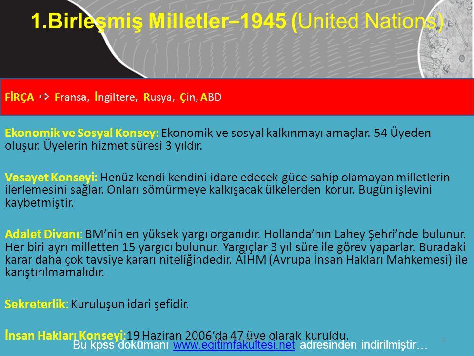 1.Birleşmiş Milletler–1945 (United Nations)