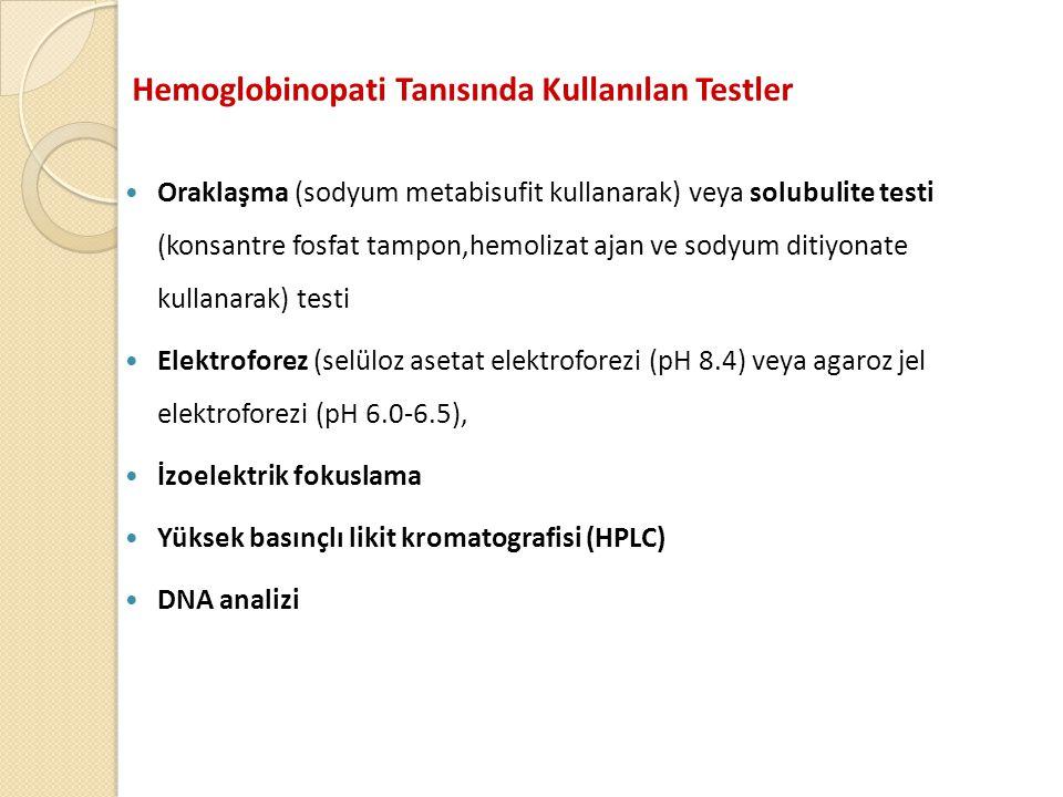 Hemoglobinopati Tanısında Kullanılan Testler