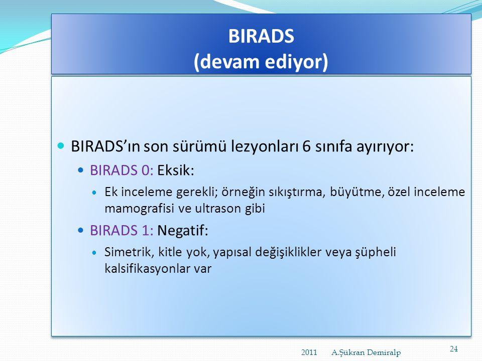 BIRADS (devam ediyor) BIRADS'ın son sürümü lezyonları 6 sınıfa ayırıyor: BIRADS 0: Eksik: