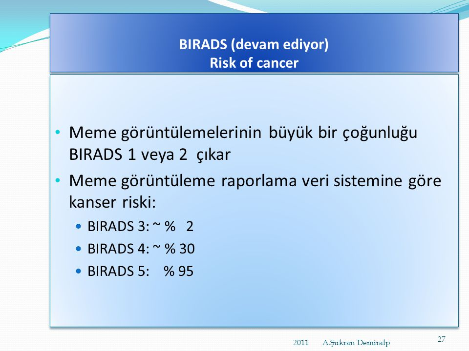 BIRADS (devam ediyor) Risk of cancer