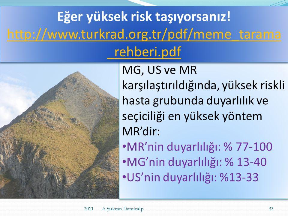 Eğer yüksek risk taşıyorsanız. http://www. turkrad. org