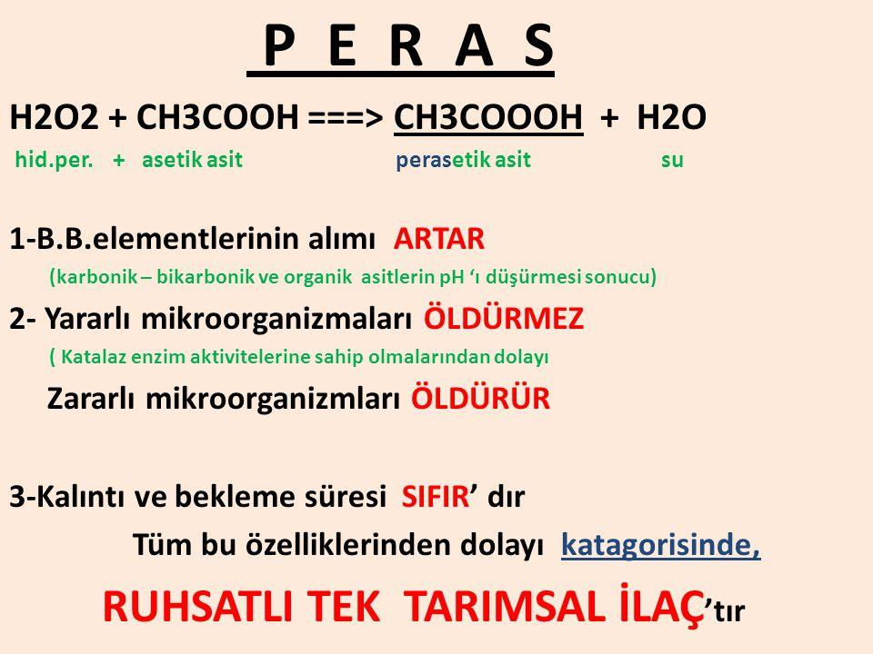 P E R A S H2O2 + CH3COOH ===> CH3COOOH + H2O