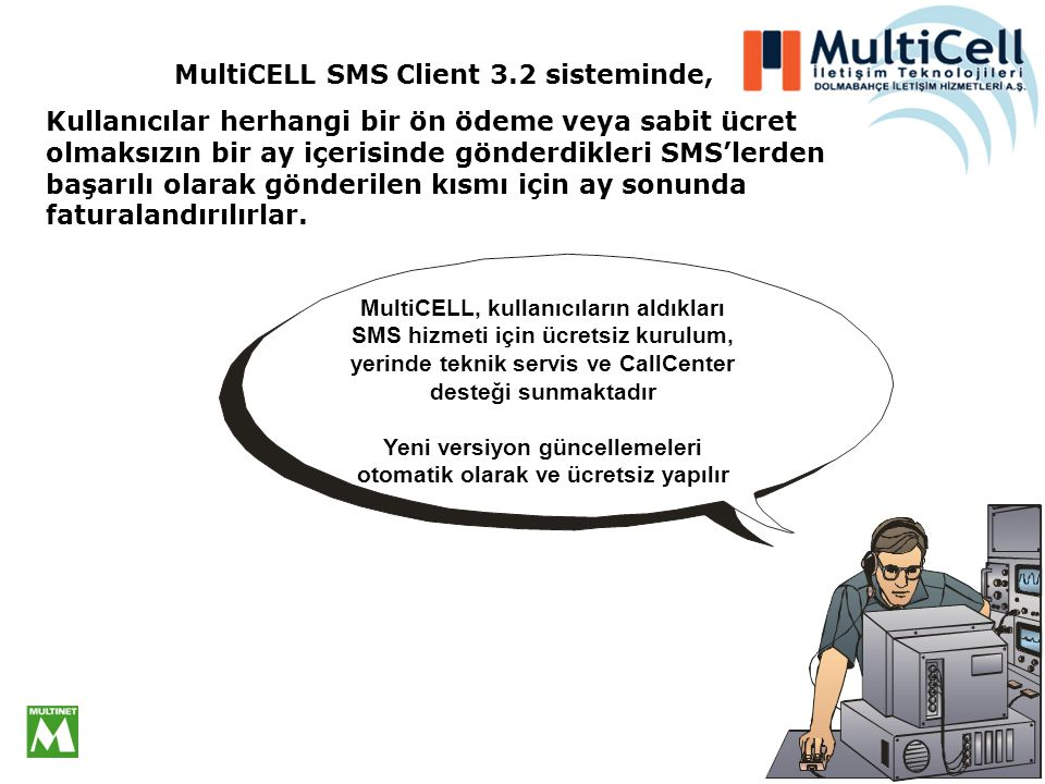 MultiCELL SMS Client 3.2 sisteminde,
