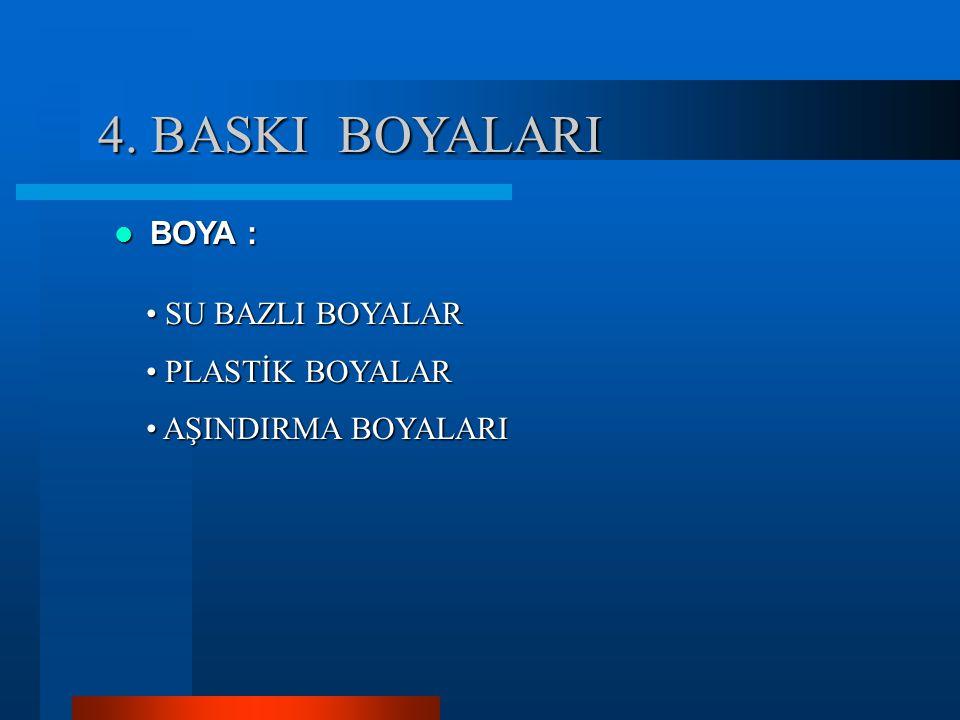 4. BASKI BOYALARI BOYA : SU BAZLI BOYALAR PLASTİK BOYALAR