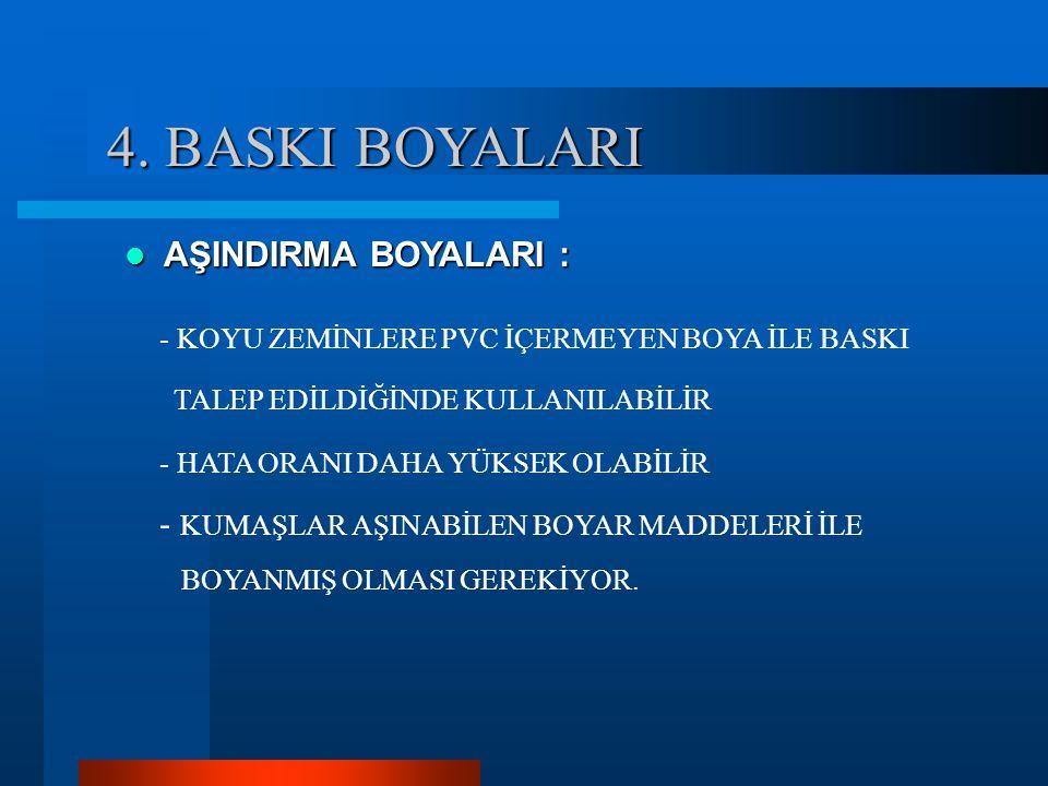 4. BASKI BOYALARI AŞINDIRMA BOYALARI :