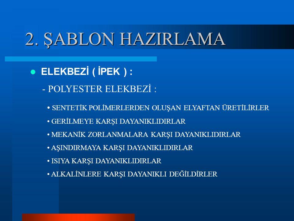 2. ŞABLON HAZIRLAMA ELEKBEZİ ( İPEK ) : - POLYESTER ELEKBEZİ :
