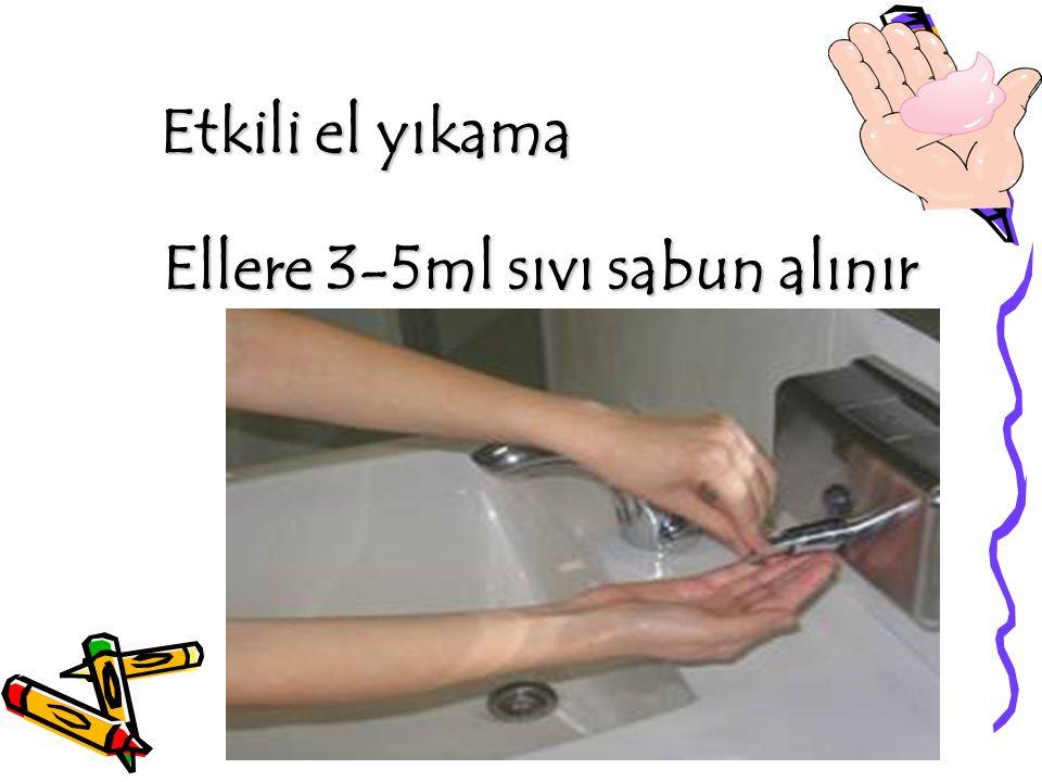 Etkili el yıkama Ellere 3-5ml sıvı sabun alınır