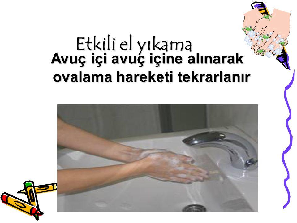 Etkili el yıkama Avuç içi avuç içine alınarak ovalama hareketi tekrarlanır