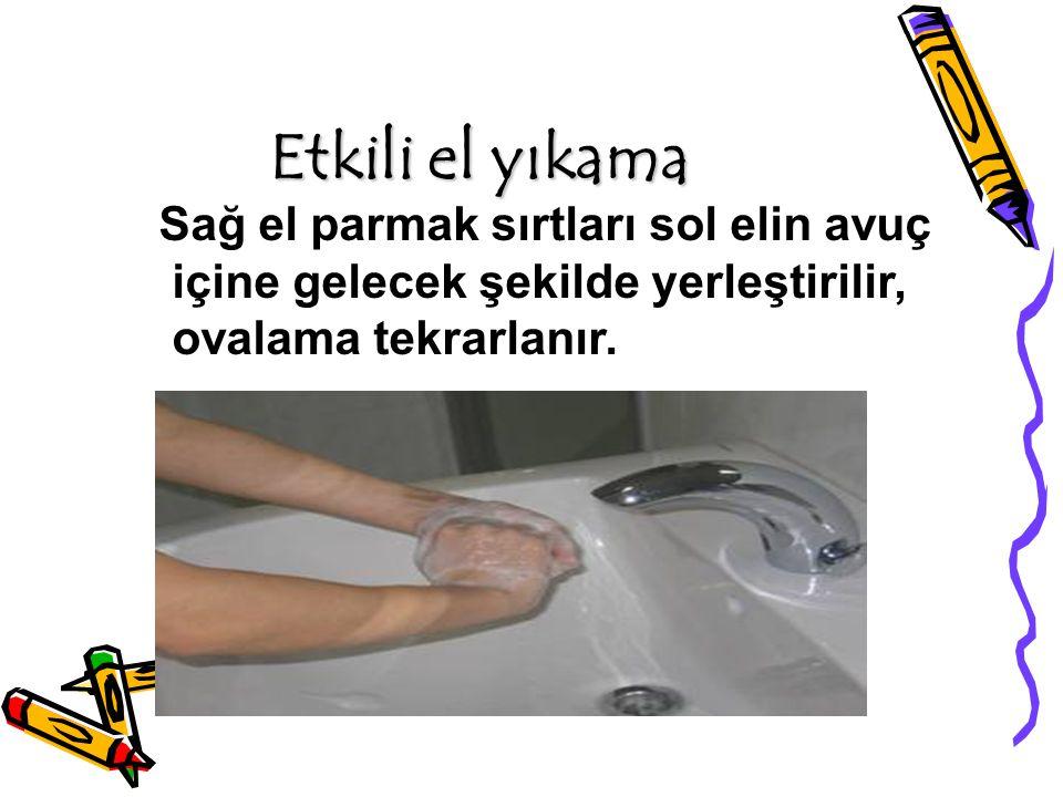 Etkili el yıkama Sağ el parmak sırtları sol elin avuç içine gelecek şekilde yerleştirilir, ovalama tekrarlanır.