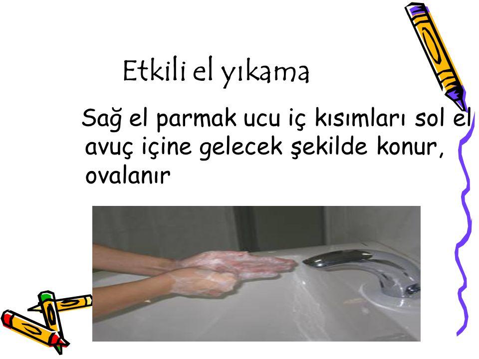 Etkili el yıkama Sağ el parmak ucu iç kısımları sol el avuç içine gelecek şekilde konur, ovalanır