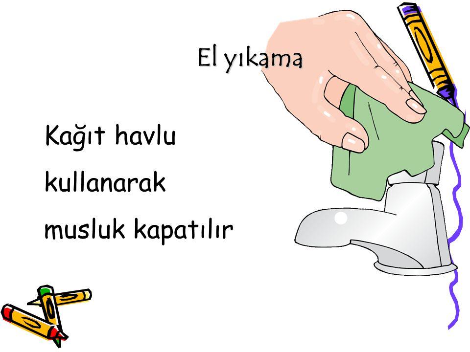 El yıkama Kağıt havlu kullanarak musluk kapatılır